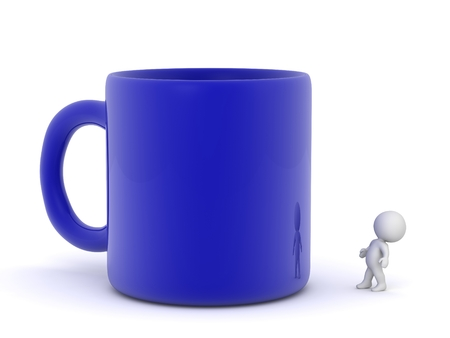 gulp: 3D Character Looking Up at Large Blue Cup