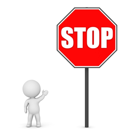 3D Character Showing a Large Stop Sign