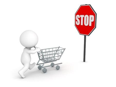 compras compulsivas: Carácter 3D con carrito de compras y muestra de la parada Detener Compulsivo Compras Concepto Foto de archivo
