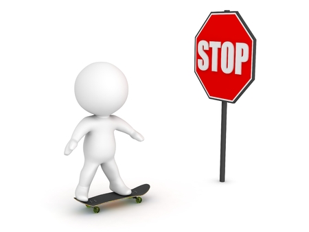 impede: 3D Character Skateboarding and Stop Sign