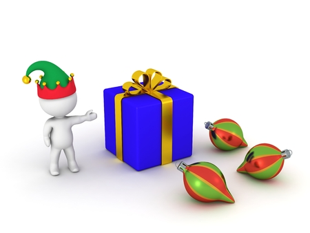 wrapped: 3D Man showing wrapped gift and globes Stock Photo