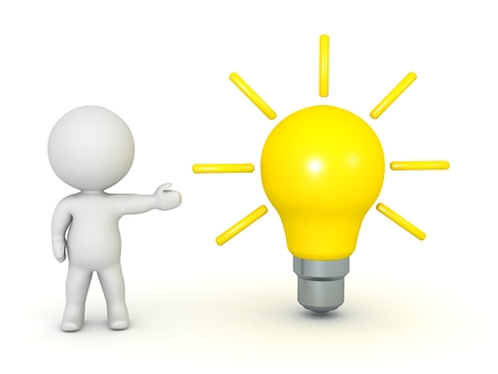3D Character Showing Light Bulb Banque d'images