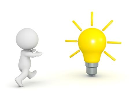 3D Character Running Toward Light Bulb Imagens