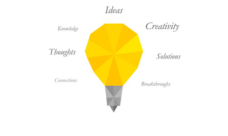 uplifting: Vector illustration of a light bulb and uplifting words