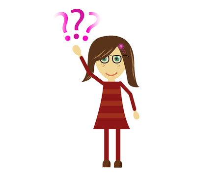 asking: Vector illustration of a cute girl raising her hand and asking a question