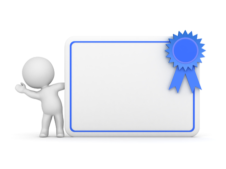 credentials: 3D character waving from behind a large diploma with a blue ribbon. Isolated on white background.
