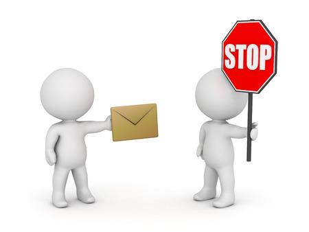 3D karakter met mail envelop en karakter met stopteken. Stoppen e-mail spam concept. Geïsoleerd op een witte achtergrond.