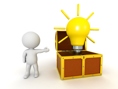 A 3D character showing a treasure chest with a large light bulb idea inside it. Isolated on white background.
