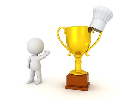 trofeo: Carácter 3D que muestra un gran trofeo de oro y un sombrero de los cocineros. Aislado en el fondo blanco.