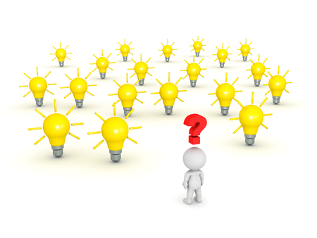 enquire: 3D character thinking about many light bulb ideas. Isolated on white background. Stock Photo