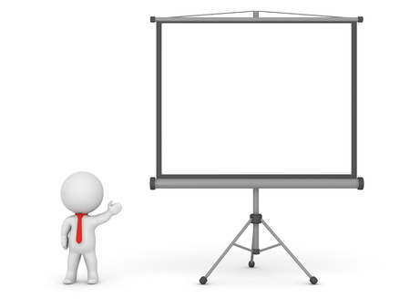 projector screen: 3D character showing a large projector screen. Isolated on white background. Stock Photo