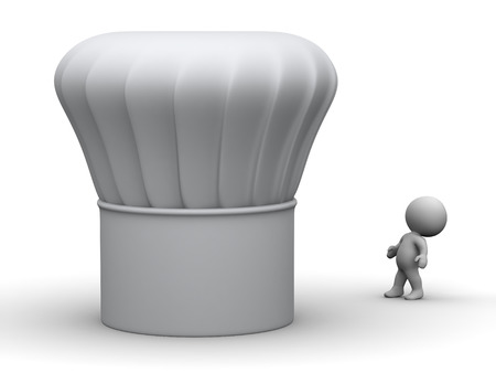 3d chef: 3D character looking up at a very large chef hat. Isolated on white background. Stock Photo