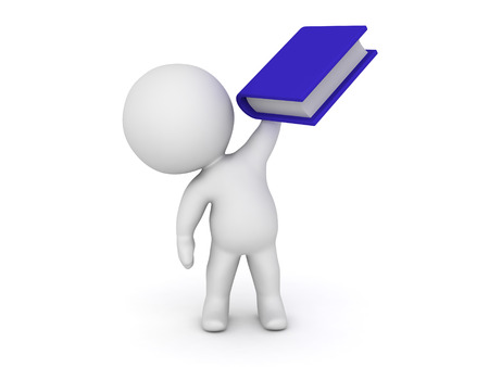 hold high: 3D character holding a large blue book. Isolated on white background. Stock Photo