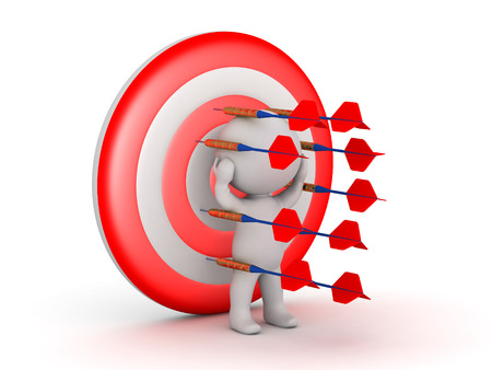 3D character pinned to a target with dart arrows. Isolated on white background.