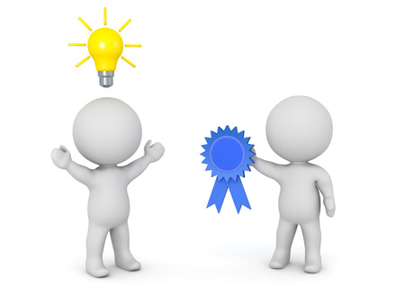 solver: A 3D character with a light bulb idea is getting a blue ribbon reward. Isolated on white background.