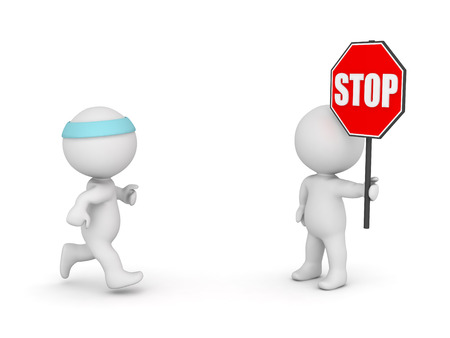 cease: 3D character running and another character holding a stop sign. Isolated on white background.