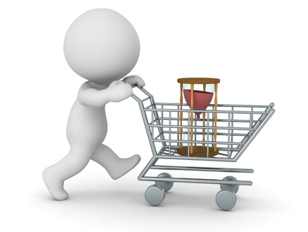 buying time: 3D character with shopping cart buying an hourglass. Buying time concept. Isolated on white background.