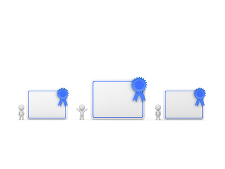 credentials: 3D characters and three diplomas. Isolated on white background.