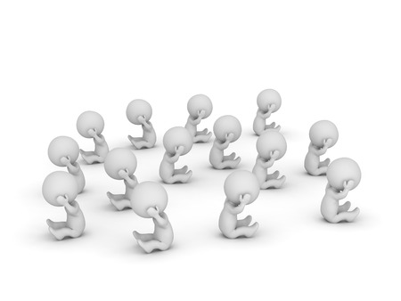 glum: Many stressed 3D characters. Isolated on white background. Stock Photo