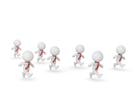 stir: Several 3D characters wearing red ties are running. Isolated on white background. Stock Photo