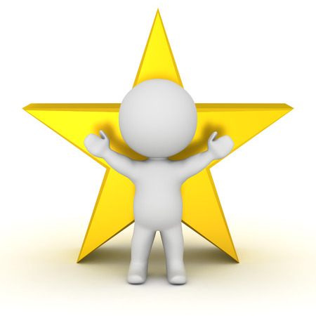 3D character with arms raised and a large gold star. Isolated on white background.