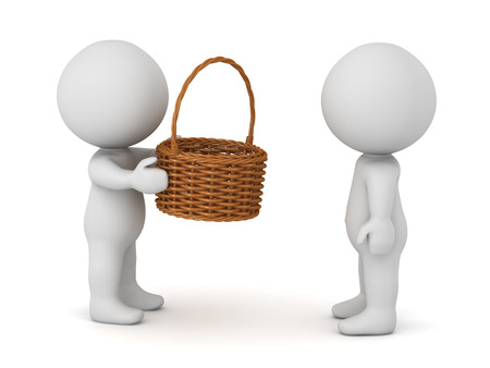 3D character giving a weaved basket to another character. Isolated on white background.