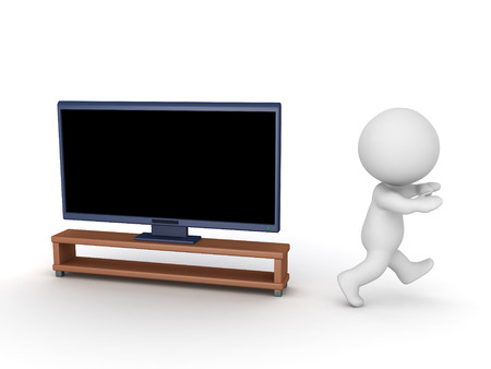 interruption: 3D character running away from large TV. Isolated on white background.