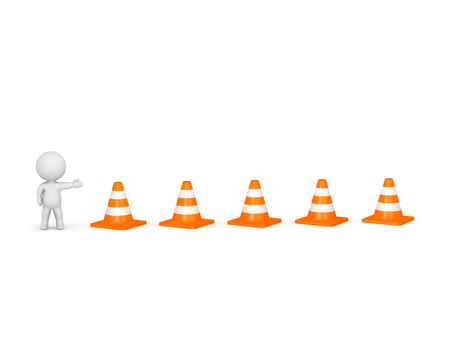 3D character showing orange road cones. Isolated on white background.