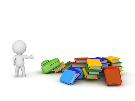 person reading: 3D character showing a pile of colorful books and a schoolbag. Isolated on white background.