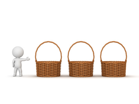 offering: 3D character showing three wicker weaved baskets. Isolated on white background. Stock Photo