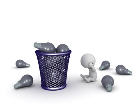 cesto basura: Personaje 3D sentado destacó, con una cesta de basura grande lleno de bombillas oscuras. Sólo concepto malas ideas. Aislado en el fondo blanco.