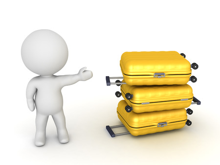 excursion: 3D character showing three travel trolleys. Isolated on white background. Stock Photo