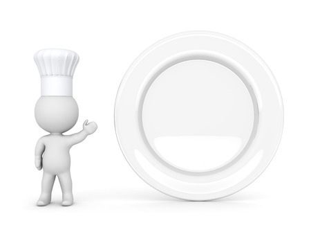 empty plate: 3D character wearing a chefs hat, showing a large empty plate. Isolated on white background.