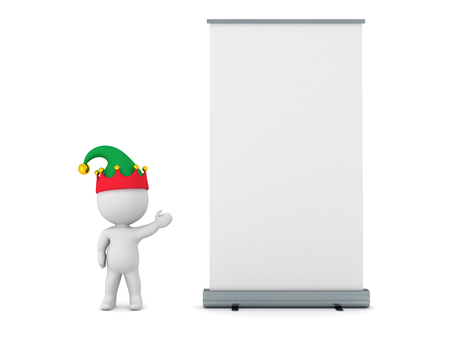 rollup: 3D character with elf hat showing a large rollup poster. Isolated on white background. Stock Photo