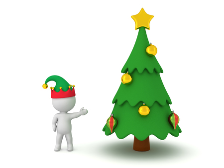 elf: 3D character wearing an elf hat showing a decorated cartoonish Christmas tree. Isolated on white background.