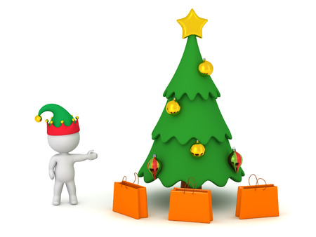gift bags: 3D character wearing an elf hat showing a decorated cartoonish Christmas tree with several gift bags under it. Isolated on white background.