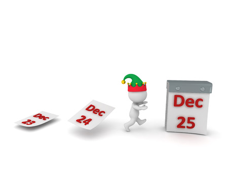 run off: 3D character with elf hat running toward tare-off calendar with the December 25 page. Isolated on white background.
