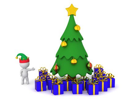 goodies: 3D character wearing an elf hat showing a decorated cartoonish Christmas tree with many wrapped gifts under it. Isolated on white background.