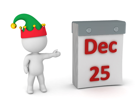 dec  25: 3D character wearing an elf hat showing a tare-off calendar with December 25. Isolated on white background. Stock Photo