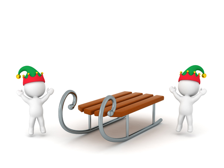 ski slope: Two 3D characters with elf hats cheering and a toy sled. Isolated on white background.