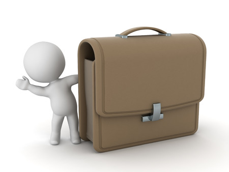 valise: 3D character waving from behind a large briefcase. Isolated on white background. Stock Photo