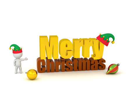 elf: 3D character with elf hat showing a large 3D text reading Merry Christmas, with some colorful globes and an elf hat. Isolated on white background.