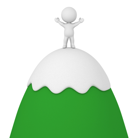 arms raised: 3D character standing with arms raised on top of cartoonish mountain. Isolated on white background.