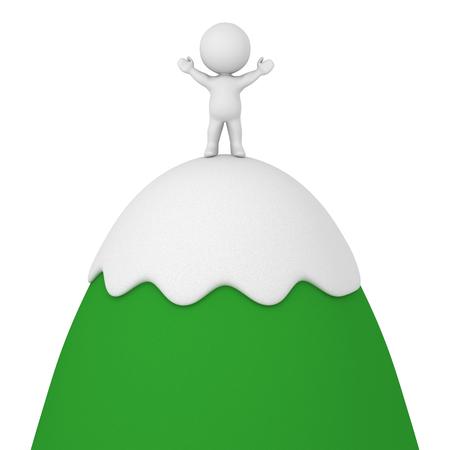 monta�as caricatura: Personajes 3D de pie con los brazos en alto en la cima de la monta�a de dibujos animados. Aislado en el fondo blanco.