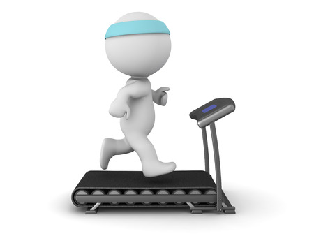 practice: 3D character running on a treadmill. Isolated on white background.