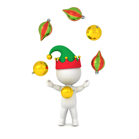 juggle: 3D character wearing elf hat juggling decorative globes. Isolated on white background.