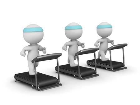 gym workout: Three 3D characters running on treadmills. Isolated on white background.