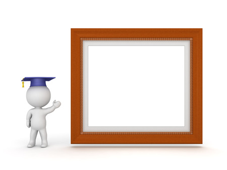 credentials: 3D character with graduation hat showing a large decorated diploma frame. Isolated on white background. Stock Photo