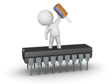 capacitor: 3D character standing on a microchip and holding a capacitor. Isolated on white background.