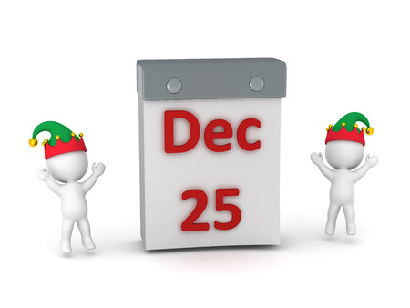 december 25: Two 3D characters with elf hats cheering around a large tare-off calendar showing December 25. Isolated on white background.